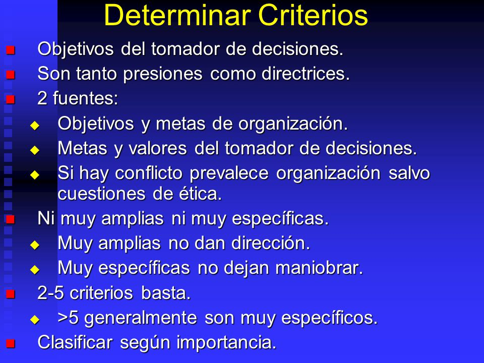 Directrices Definición Problema Definir quien es el tomador de decisiones. Definir quien es el tomador de decisiones. Considerar toda la información d