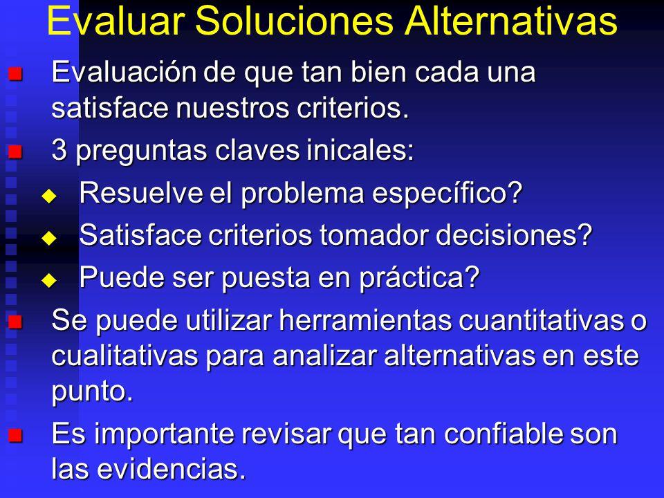 Identificar Soluciones Alternativas Debe conocerse del tema. Debe conocerse del tema. Enumerar toda alternativa que se ocurren. Enumerar toda alternat