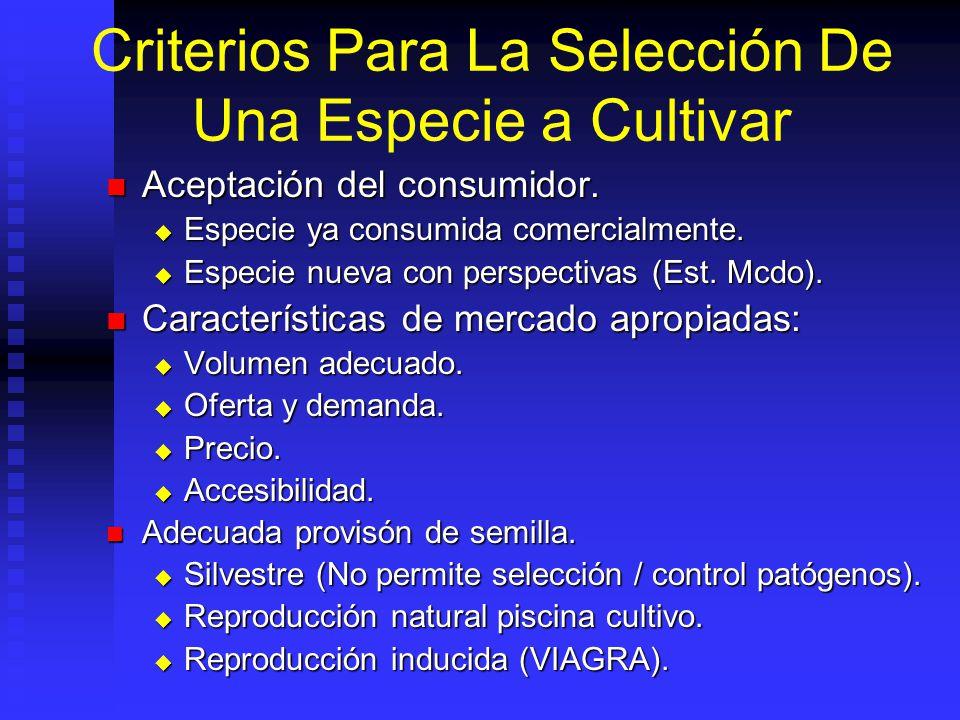 Criterios Para La Selección De Una Especie a Cultivar Condiciones ambientales apropiadas. Condiciones ambientales apropiadas. Temperatura, pluviosidad