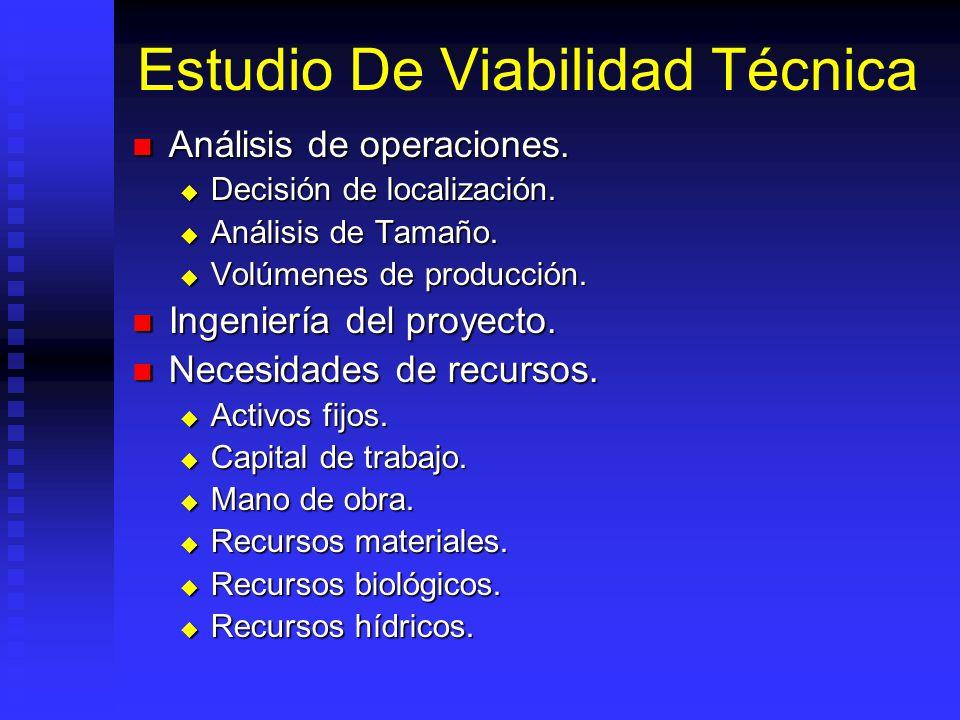 Estudio De Viabilidad Técnica Estudia posibilidades materiales, físicas, químicas, tecnológicas y biológicas de producir bien o servicio. Estudia posi
