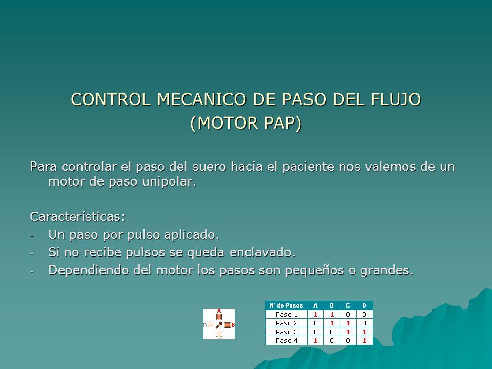 CONTROL MECANICO DE PASO DEL FLUJO (MOTOR PAP) Para controlar el paso del suero hacia el paciente nos valemos de un motor de paso unipolar. Caracterís