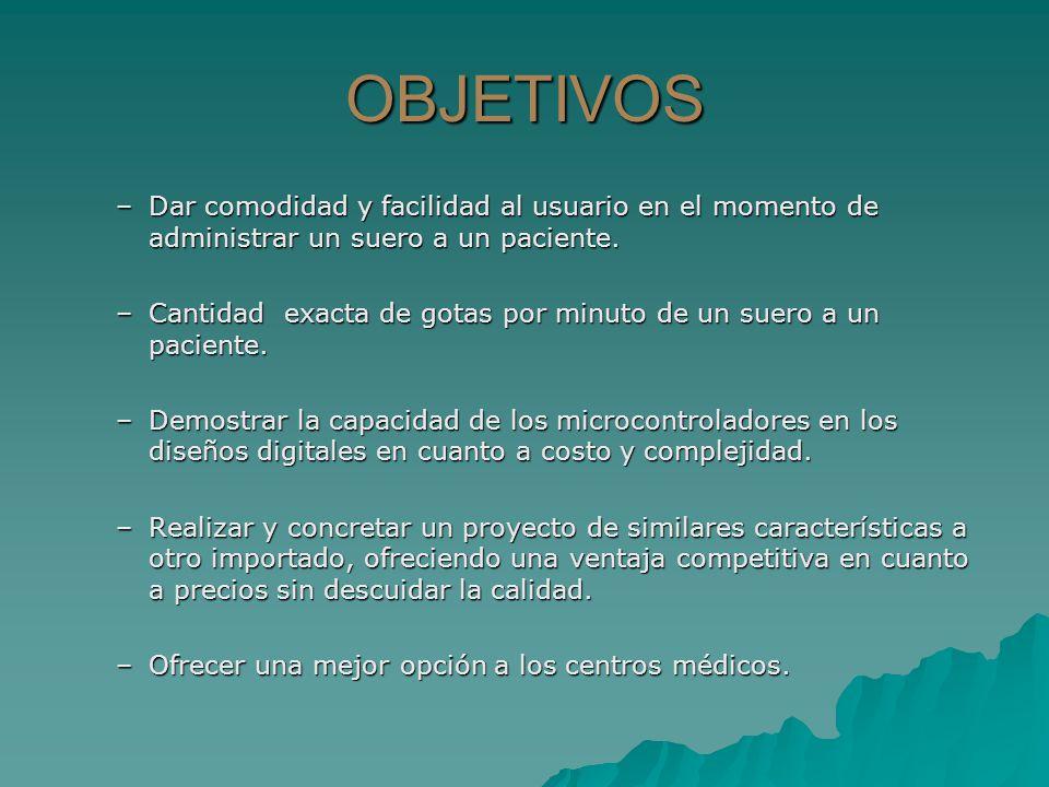DESCRIPCION Y ANALISIS DEL SISTEMA DIAGRAMA DE BLOQUES TECLADO SUERO SENSOR (PAR INFRARROJO) PROCESAMIENTO DE DATOS MICROCONTROLADOR PIC 16F877A VISUALIZADOR (PANTALLA LCD) INDICADOR SONORO (BUZZER) OPTO-ACOPLADOR 4N25 CONTROL MECANICO (MOTOR PAP) SUERO
