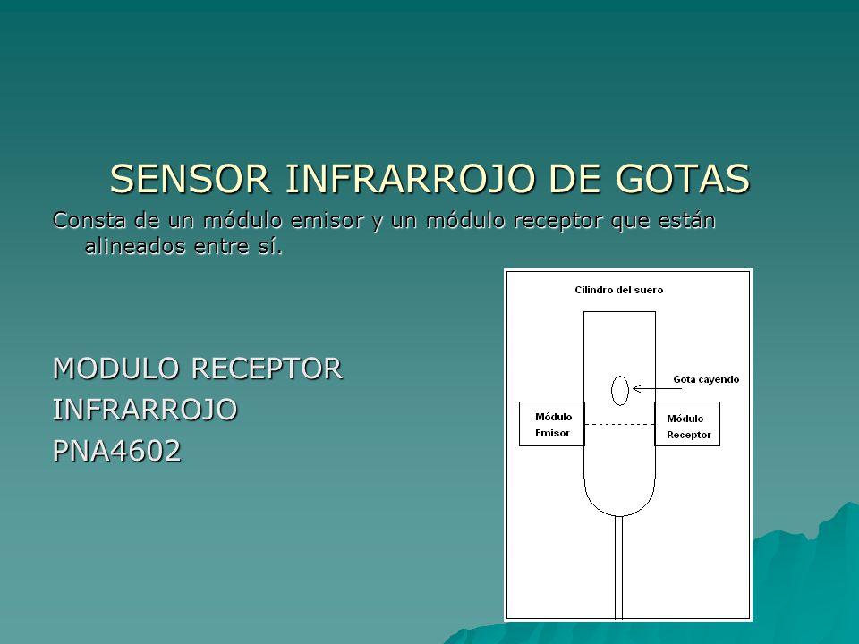 SENSOR INFRARROJO DE GOTAS Consta de un módulo emisor y un módulo receptor que están alineados entre sí. MODULO RECEPTOR INFRARROJOPNA4602