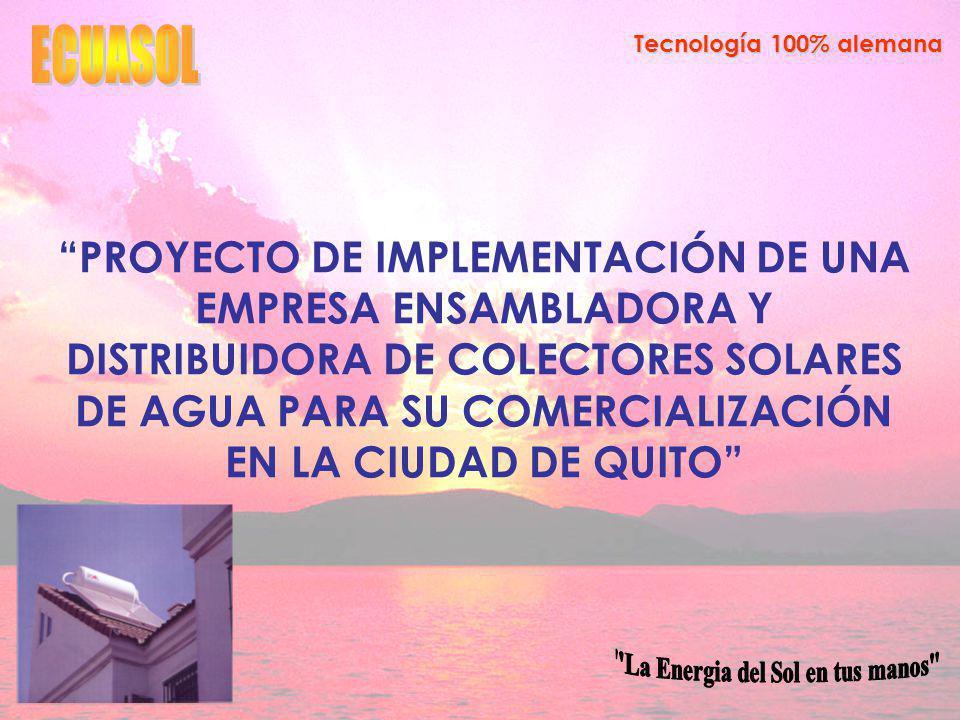 Tecnología 100% alemana FODA DEBILIDADES Falta de respaldo de una marca reconocida Desconocimiento general de la población sobre el colector solar de agua y sus beneficios ambientales y socioeconómicos.