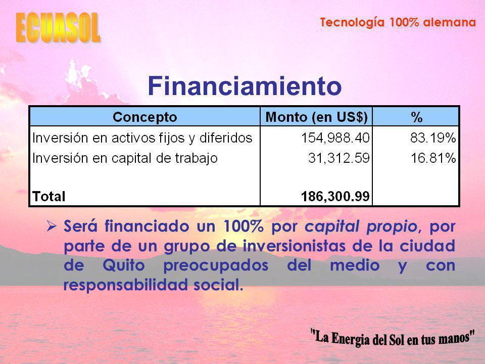 Tecnología 100% alemana Financiamiento capital propio Será financiado un 100% por capital propio, por parte de un grupo de inversionistas de la ciudad de Quito preocupados del medio y con responsabilidad social.