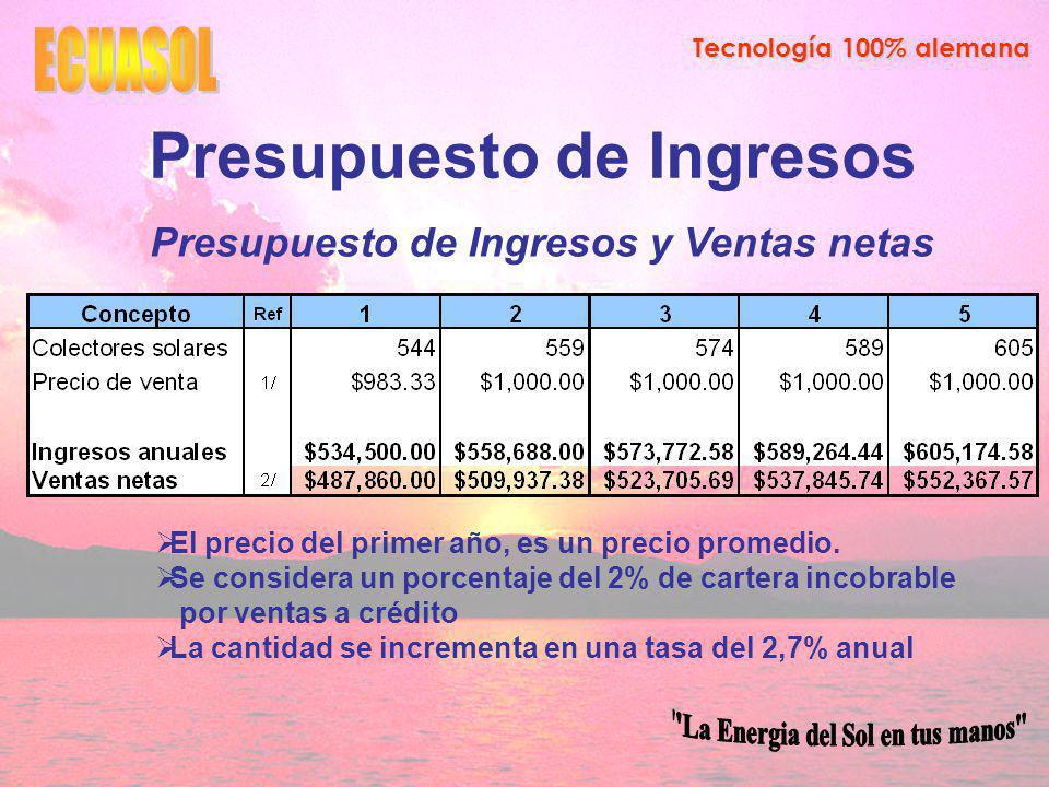Tecnología 100% alemana Presupuesto de Ingresos Presupuesto de Ingresos y Ventas netas El precio del primer año, es un precio promedio.