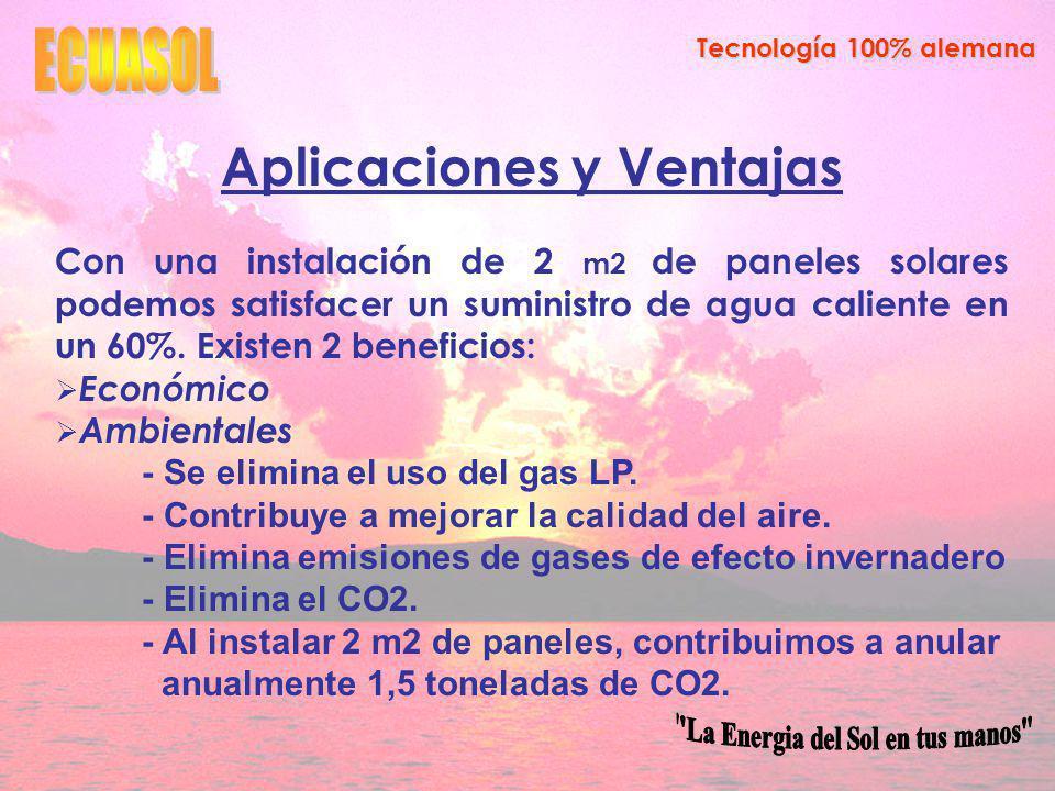 Aplicaciones y Ventajas Con una instalación de 2 m2 de paneles solares podemos satisfacer un suministro de agua caliente en un 60%.