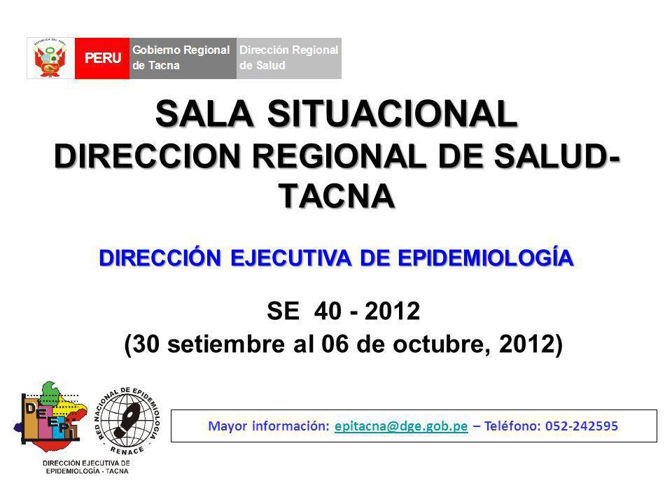 SALA SITUACIONAL DIRECCION REGIONAL DE SALUD- TACNA SE 40 - 2012 (30 setiembre al 06 de octubre, 2012) Mayor información: epitacna@dge.gob.pe – Teléfono: 052-242595epitacna@dge.gob.pe DIRECCIÓN EJECUTIVA DE EPIDEMIOLOGÍA