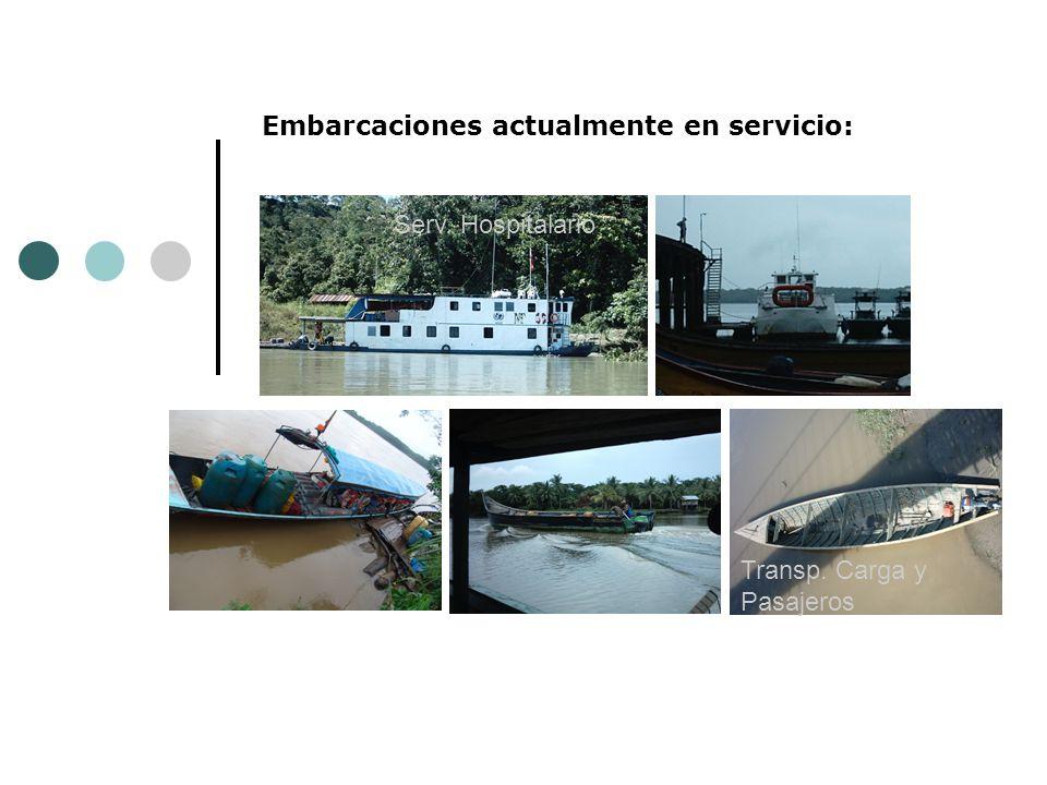 Embarcaciones actualmente en servicio: Serv. Hospitalario Transp. Carga y Pasajeros