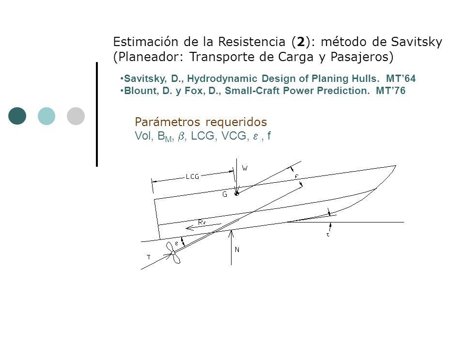 Parámetros requeridos Vol, B M,, LCG, VCG,, f Estimación de la Resistencia (2): método de Savitsky (Planeador: Transporte de Carga y Pasajeros) Savitsky, D., Hydrodynamic Design of Planing Hulls.