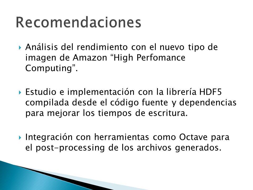 Análisis del rendimiento con el nuevo tipo de imagen de Amazon High Perfomance Computing. Estudio e implementación con la librería HDF5 compilada desd