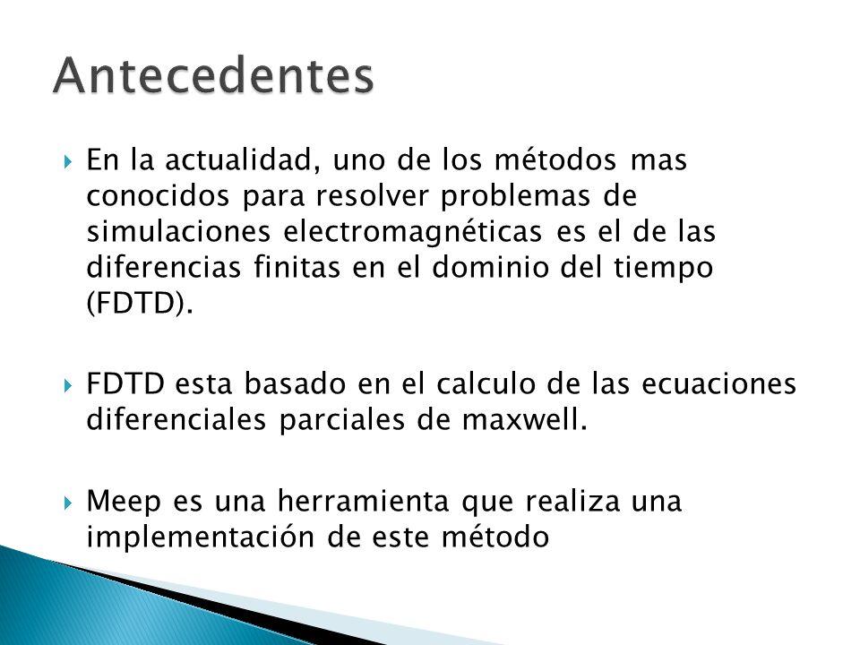 En la actualidad, uno de los métodos mas conocidos para resolver problemas de simulaciones electromagnéticas es el de las diferencias finitas en el do