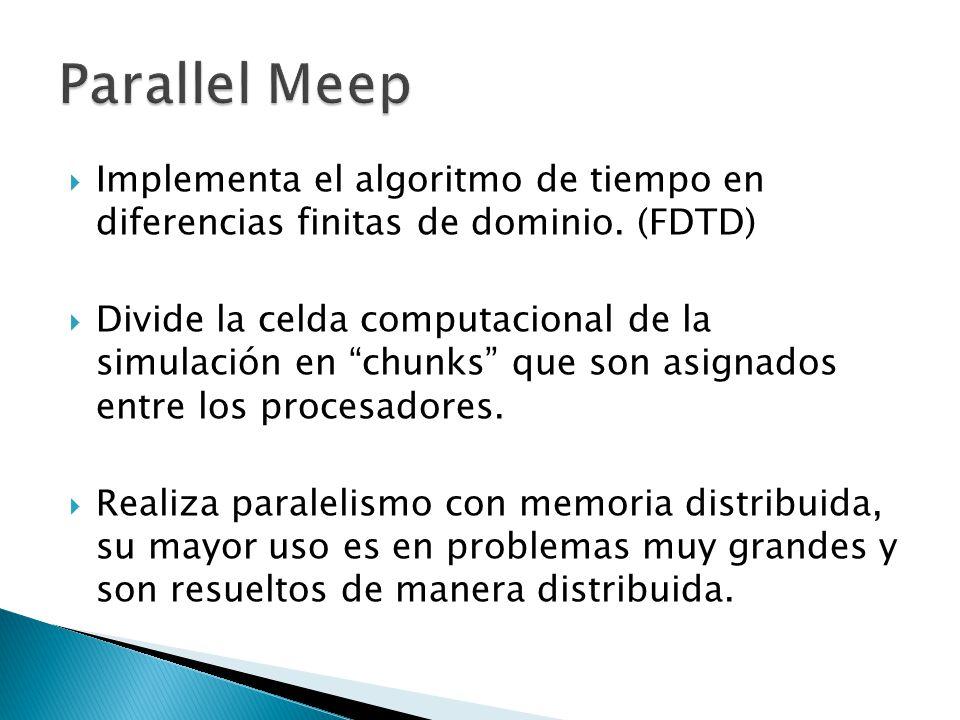 Implementa el algoritmo de tiempo en diferencias finitas de dominio. (FDTD) Divide la celda computacional de la simulación en chunks que son asignados