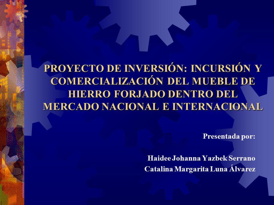 PROYECTO DE INVERSIÓN: INCURSIÓN Y COMERCIALIZACIÓN DEL MUEBLE DE HIERRO FORJADO DENTRO DEL MERCADO NACIONAL E INTERNACIONAL Presentada por: Haidee Jo