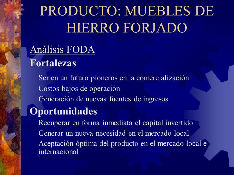 PRODUCTO: MUEBLES DE HIERRO FORJADO Análisis FODA Fortalezas Ser en un futuro pioneros en la comercialización Costos bajos de operación Generación de