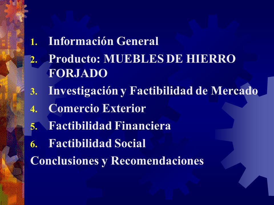 1. Información General 2. Producto: MUEBLES DE HIERRO FORJADO 3. Investigación y Factibilidad de Mercado 4. Comercio Exterior 5. Factibilidad Financie