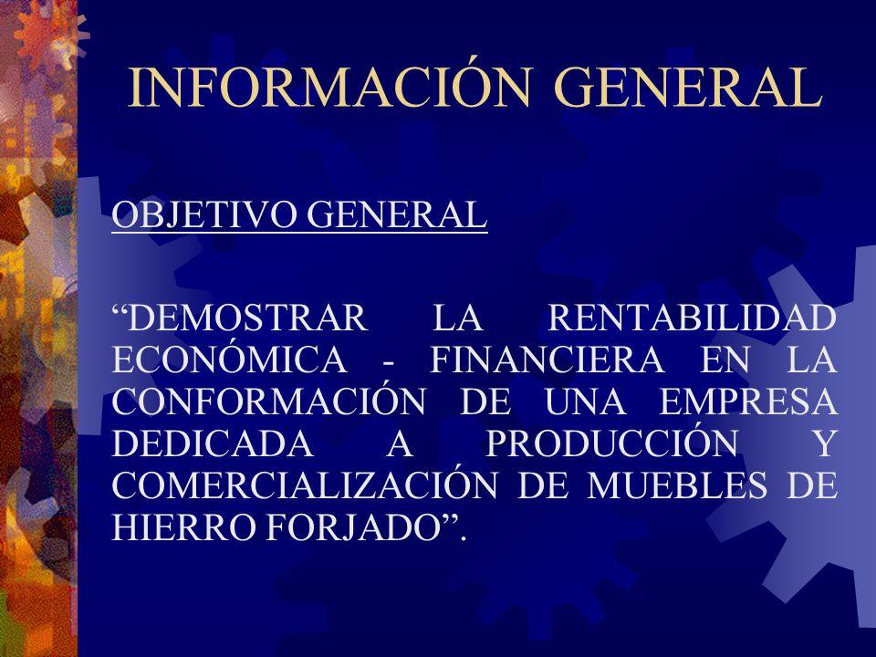 INFORMACIÓN GENERAL OBJETIVO GENERAL DEMOSTRAR LA RENTABILIDAD ECONÓMICA - FINANCIERA EN LA CONFORMACIÓN DE UNA EMPRESA DEDICADA A PRODUCCIÓN Y COMERC