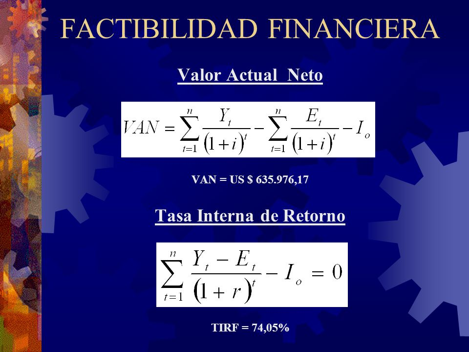 FACTIBILIDAD FINANCIERA Valor Actual Neto VAN = US $ 635.976,17 Tasa Interna de Retorno TIRF = 74,05%