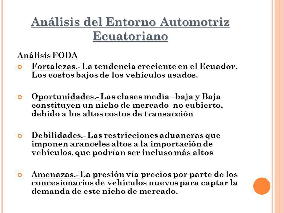 Análisis del Entorno Automotriz Ecuatoriano Análisis FODA Fortalezas.- La tendencia creciente en el Ecuador. Los costos bajos de los vehículos usados.