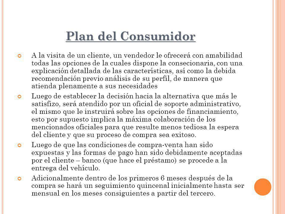Plan del Consumidor A la visita de un cliente, un vendedor le ofrecerá con amabilidad todas las opciones de la cuales dispone la consecionaria, con un