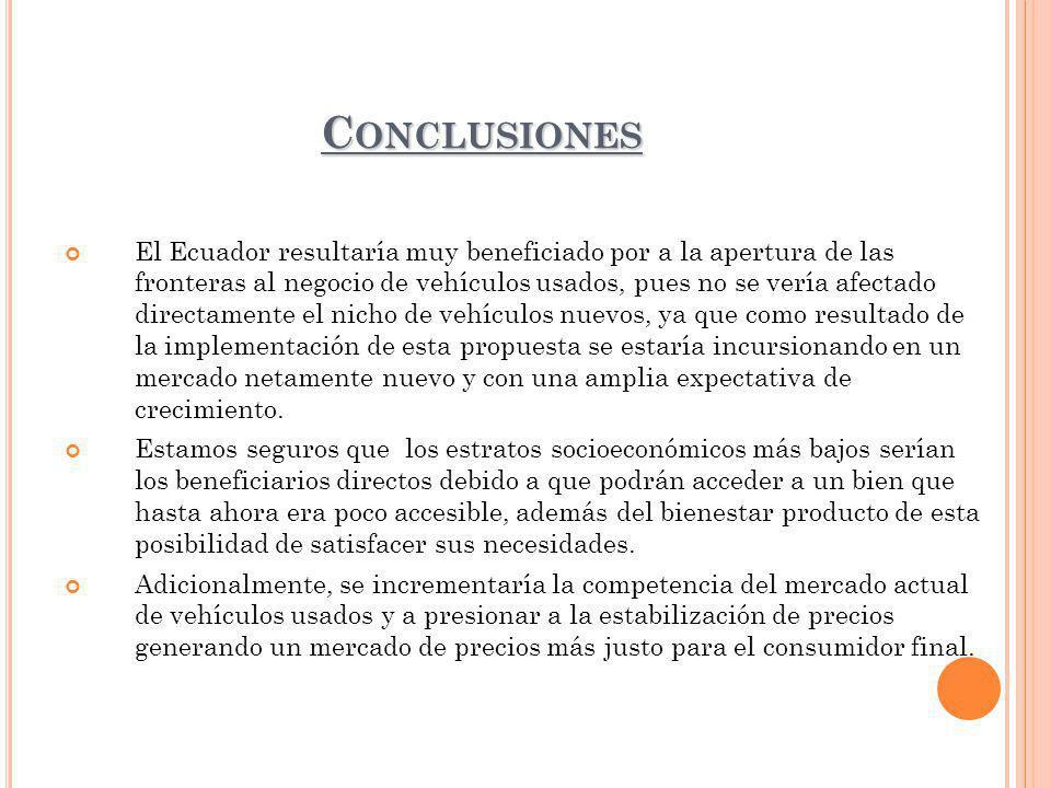 C ONCLUSIONES El Ecuador resultaría muy beneficiado por a la apertura de las fronteras al negocio de vehículos usados, pues no se vería afectado directamente el nicho de vehículos nuevos, ya que como resultado de la implementación de esta propuesta se estaría incursionando en un mercado netamente nuevo y con una amplia expectativa de crecimiento.
