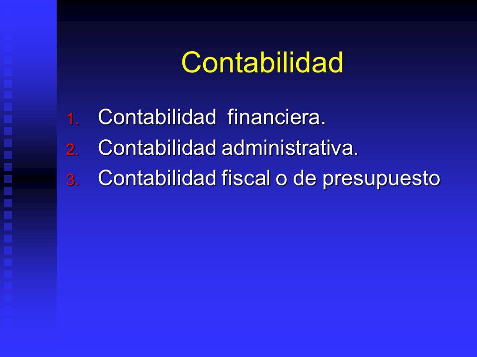 Contabilidad 1. Contabilidad financiera. 2. Contabilidad administrativa. 3. Contabilidad fiscal o de presupuesto