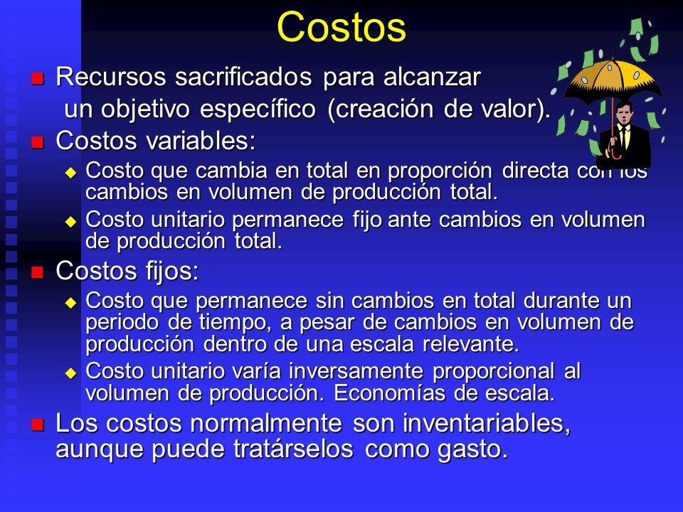 Costos Recursos sacrificados para alcanzar Recursos sacrificados para alcanzar un objetivo específico (creación de valor). Costos variables: Costos va