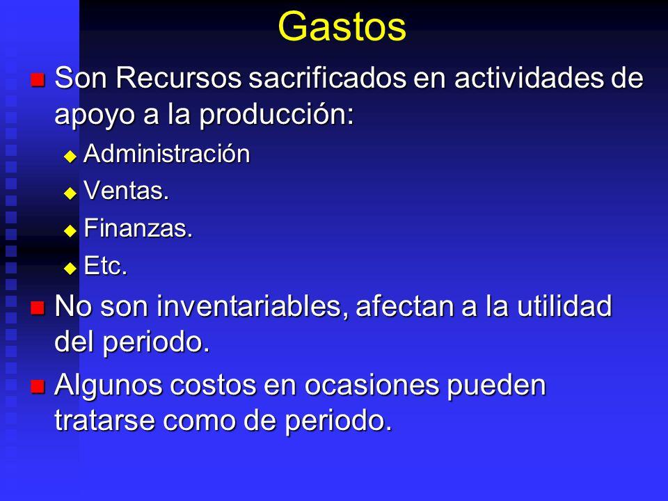 Gastos Son Recursos sacrificados en actividades de apoyo a la producción: Son Recursos sacrificados en actividades de apoyo a la producción: Administr