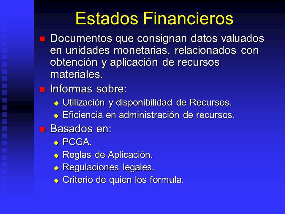 Estados Financieros Documentos que consignan datos valuados en unidades monetarias, relacionados con obtención y aplicación de recursos materiales. Do