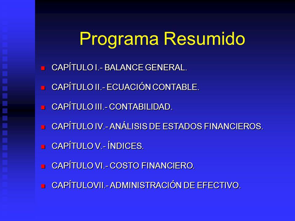 Programa Resumido CAPÍTULO I.- BALANCE GENERAL. CAPÍTULO I.- BALANCE GENERAL. CAPÍTULO II.- ECUACIÓN CONTABLE. CAPÍTULO II.- ECUACIÓN CONTABLE. CAPÍTU