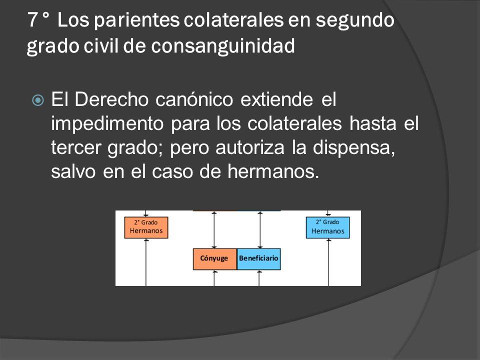 7° Los parientes colaterales en segundo grado civil de consanguinidad El Derecho canónico extiende el impedimento para los colaterales hasta el tercer
