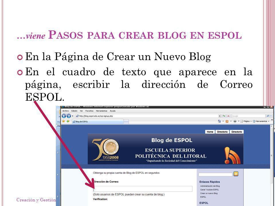 …viene P ASOS PARA CREAR BLOG EN ESPOL En la Página de Crear un Nuevo Blog En el cuadro de texto que aparece en la página, escribir la dirección de Correo ESPOL.