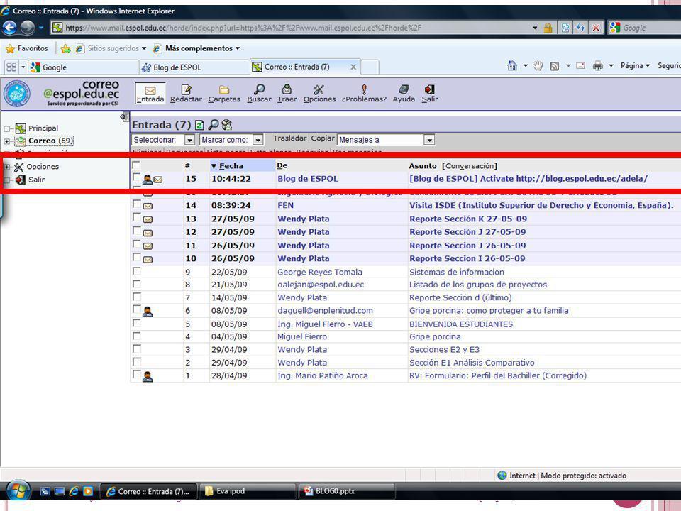 Guayaquil, febrero de 2009 29 Creación y Gestión de Blogs en ESPOL