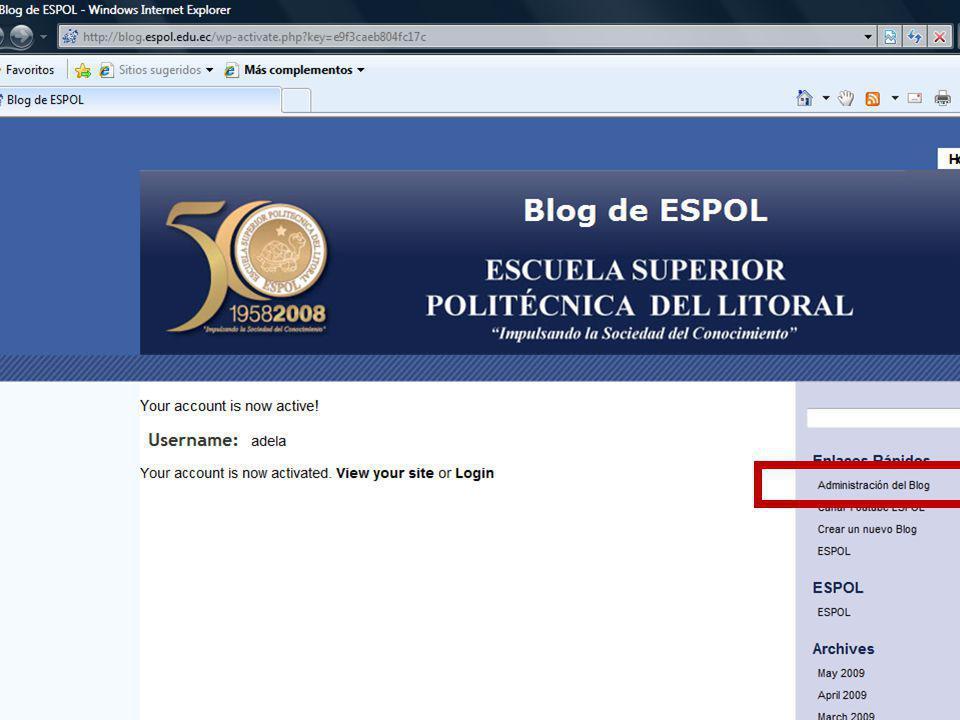Guayaquil, febrero de 2009 34 Creación y Gestión de Blogs en ESPOL
