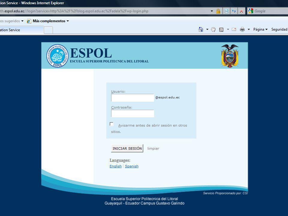 Guayaquil, febrero de 2009 36 Creación y Gestión de Blogs en ESPOL