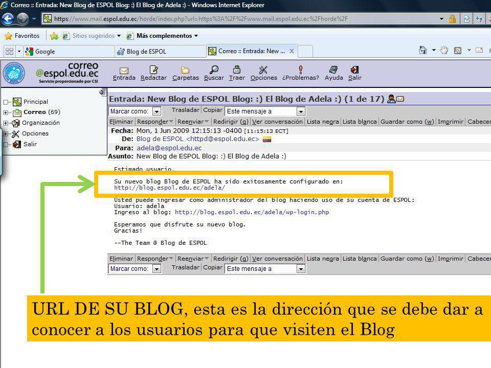 Guayaquil, febrero de 2009 46 Creación y Gestión de Blogs en ESPOL URL DE SU BLOG, esta es la dirección que se debe dar a conocer a los usuarios para