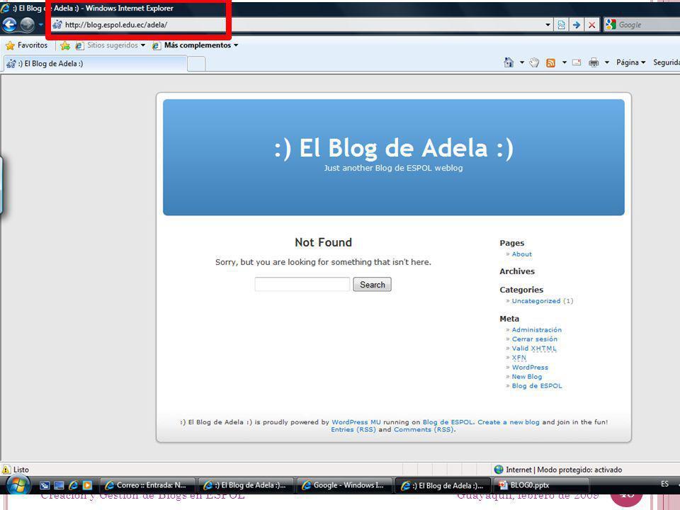 Guayaquil, febrero de 2009 48 Creación y Gestión de Blogs en ESPOL