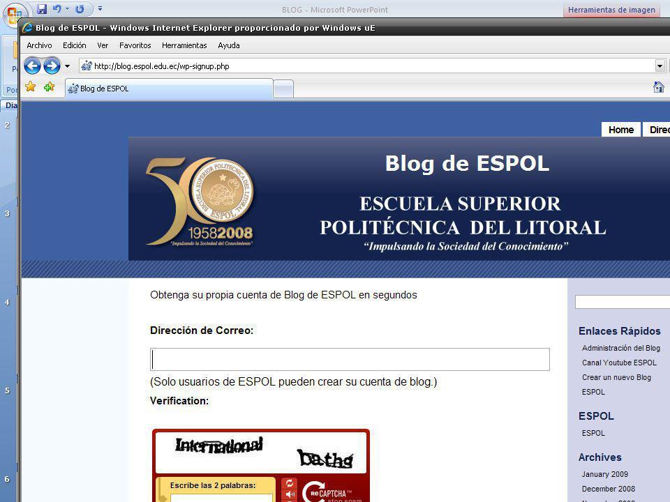 Guayaquil, febrero de 2009 40 Creación y Gestión de Blogs en ESPOL