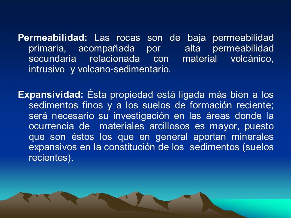 Permeabilidad: Las rocas son de baja permeabilidad primaria, acompañada por alta permeabilidad secundaria relacionada con material volcánico, intrusiv