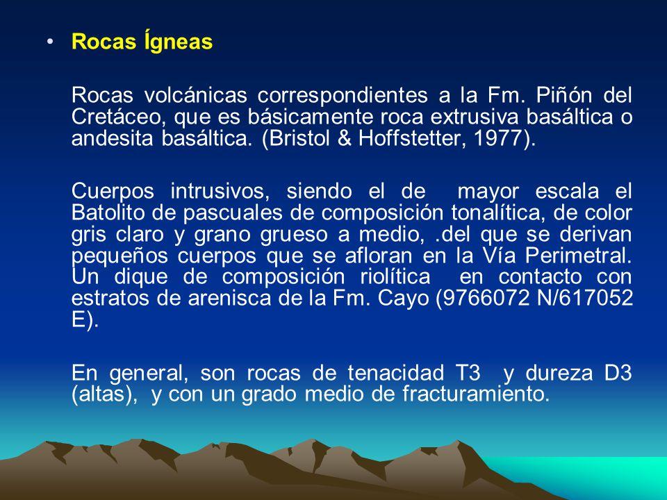 Rocas Ígneas Rocas volcánicas correspondientes a la Fm. Piñón del Cretáceo, que es básicamente roca extrusiva basáltica o andesita basáltica. (Bristol