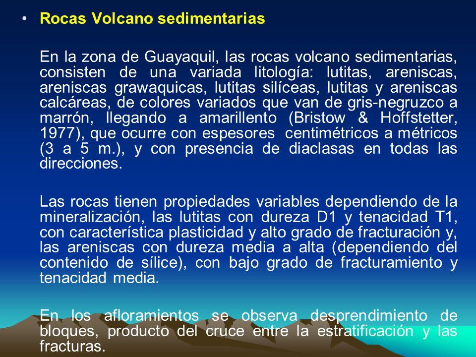 Rocas Volcano sedimentarias En la zona de Guayaquil, las rocas volcano sedimentarias, consisten de una variada litología: lutitas, areniscas, arenisca