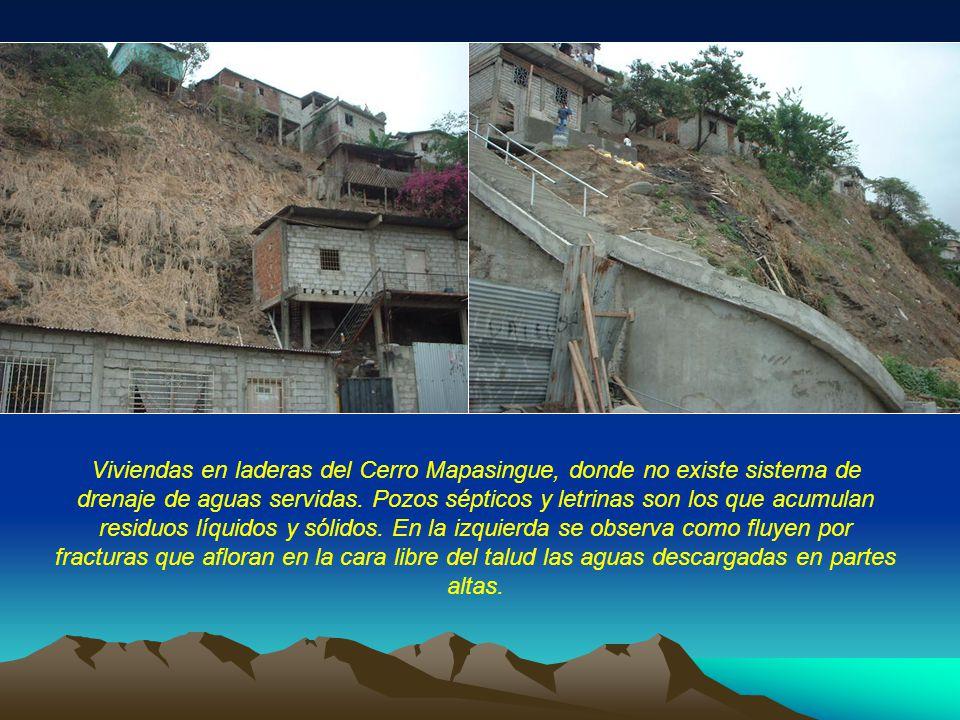 Viviendas en laderas del Cerro Mapasingue, donde no existe sistema de drenaje de aguas servidas. Pozos sépticos y letrinas son los que acumulan residu