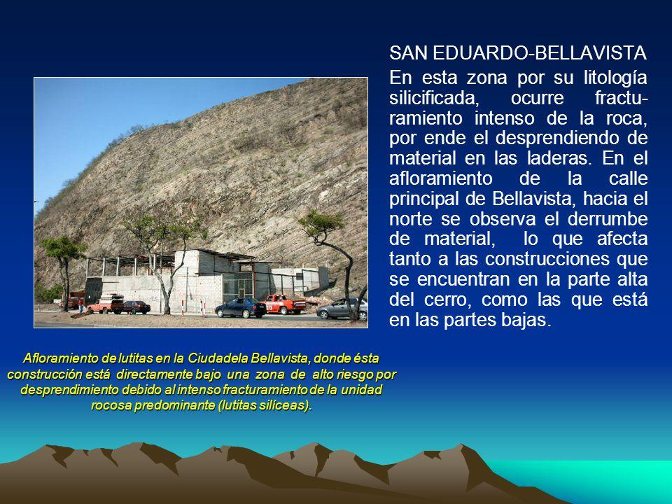 Afloramiento de lutitas en la Ciudadela Bellavista, donde ésta construcción está directamente bajo una zona de alto riesgo por desprendimiento debido