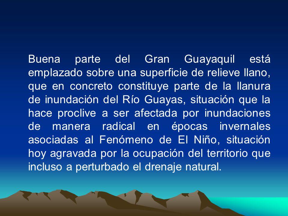Buena parte del Gran Guayaquil está emplazado sobre una superficie de relieve llano, que en concreto constituye parte de la llanura de inundación del