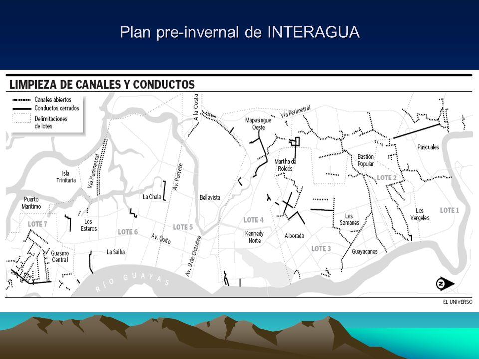 Plan pre-invernal de INTERAGUA