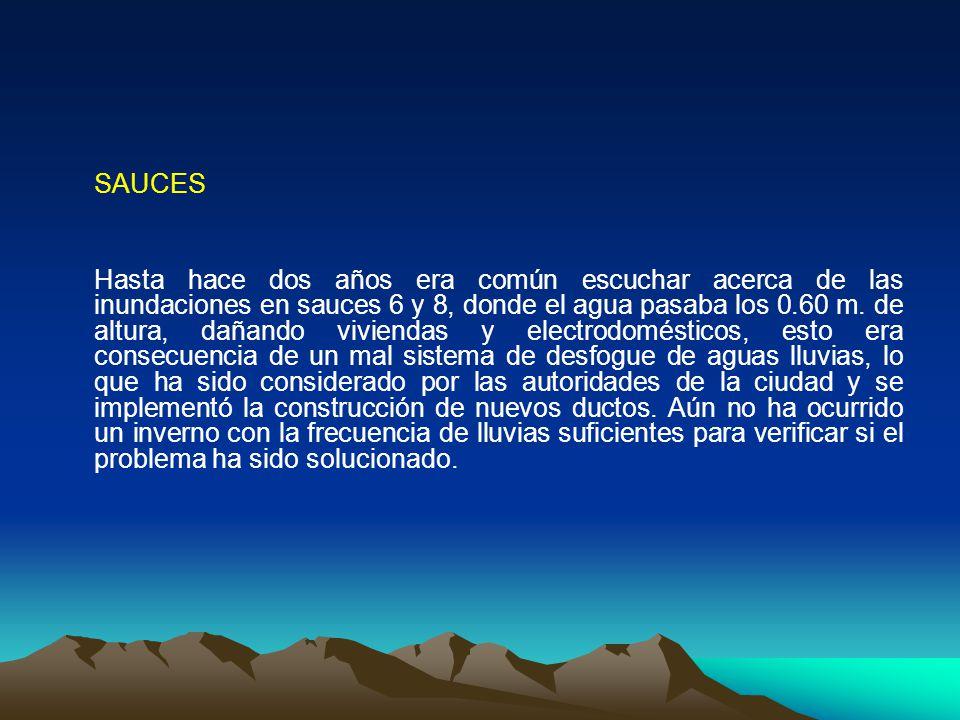 SAUCES Hasta hace dos años era común escuchar acerca de las inundaciones en sauces 6 y 8, donde el agua pasaba los 0.60 m. de altura, dañando vivienda