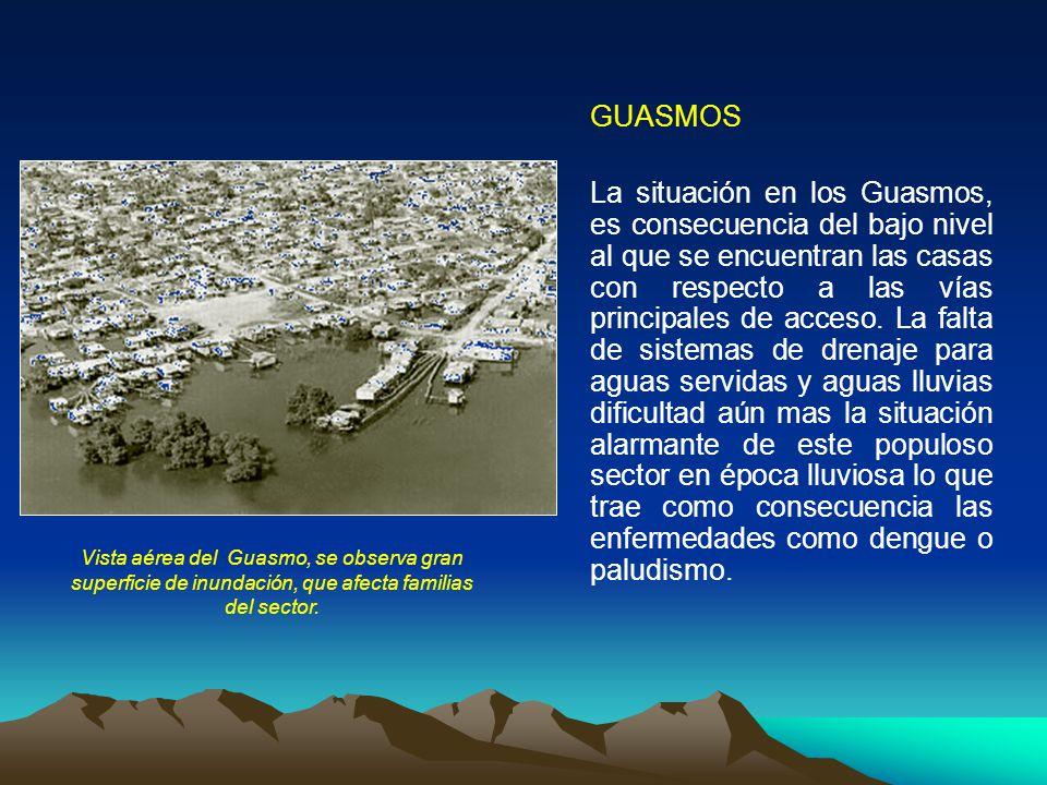 GUASMOS La situación en los Guasmos, es consecuencia del bajo nivel al que se encuentran las casas con respecto a las vías principales de acceso. La f