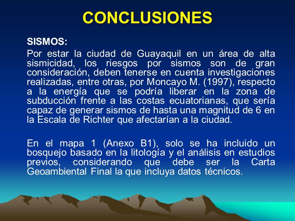 CONCLUSIONES SISMOS: Por estar la ciudad de Guayaquil en un área de alta sismicidad, los riesgos por sismos son de gran consideración, deben tenerse e