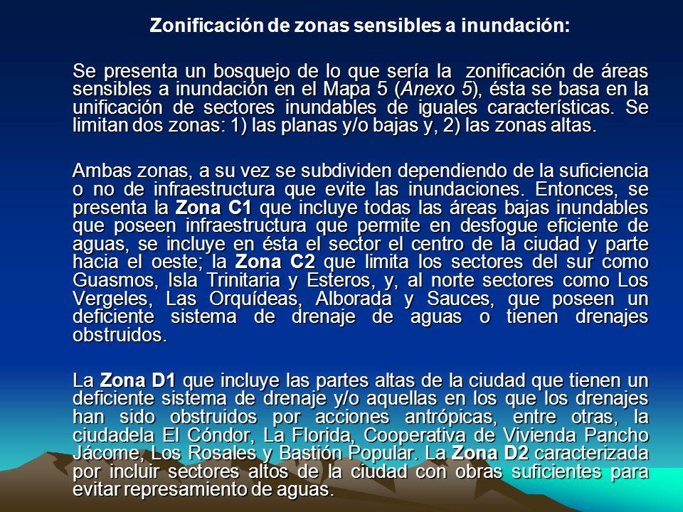 Zonificación de zonas sensibles a inundación: Se presenta un bosquejo de lo que sería la zonificación de áreas sensibles a inundación en el Mapa 5 (An