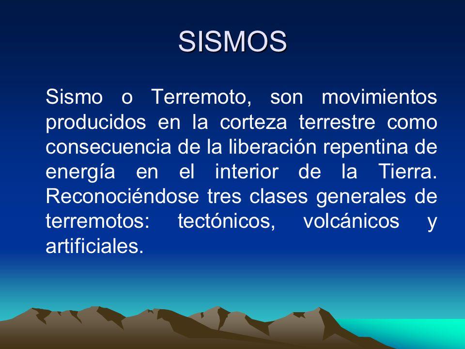 SISMOS Sismo o Terremoto, son movimientos producidos en la corteza terrestre como consecuencia de la liberación repentina de energía en el interior de